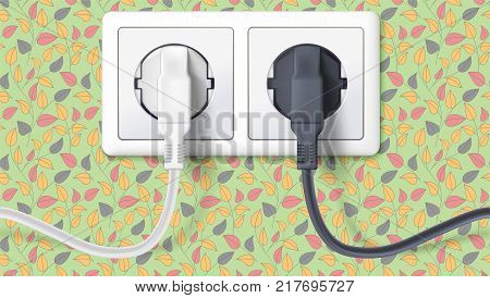 Realistic black and white plugs inserted in electrical outlet on backdrop of wall with wallpaper with leaves. Icon of device for connecting electrical appliances. 3D illustration.