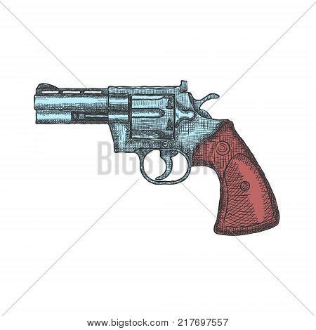 Hand Drawn Vintage Revolver Gun. Firearm, pistol sketch. Vector illustration