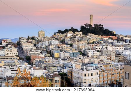 Coit Tower on Telegraph Hill as seen from Russian Hill. San Francisco, California, USA.
