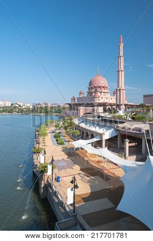 The Putra Mosque Is The Principal Mosque Of Putrajaya, Malaysia. The Most Tourist Attraction In Mala