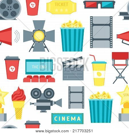 Cartoon Cinema Movie Seamless Pattern Background on a White Symbol Film and Cinematography Flat Style Design. Vector illustration