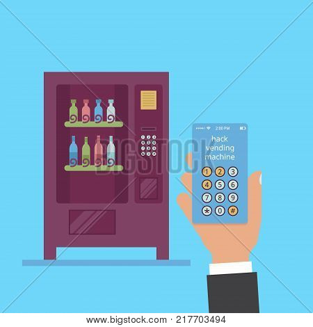 Hack vending machine. In the hand is a smartphone with a hack code. Wine vending in a flat vector.