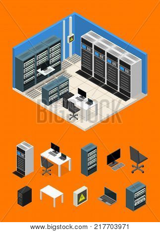 Interior Server Room and Parts Isometric View Computer Technology Data Center System Communication Equipment. Vector illustration