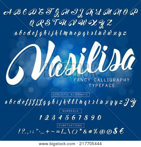 Festive and elegant font for anything inscriptions and lettering. Handcrafted calligraphic font drawn by brush. Full set of symbols. Vector illustration.