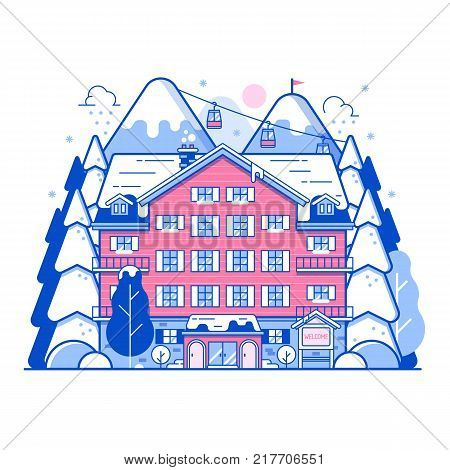 Ski resort landscape in line art design. Monoline winter mountain hotel abstract background. Snowy peaks, inn building and funiculars on Alps forest. Winter holidays in the mountains concept banner.