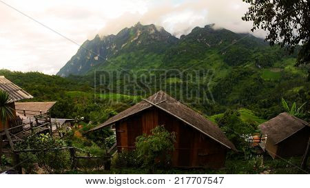The Panoramic View Of Forest And High Mountains, Which Are Covered With Beautiful Mist,  Visible Fro