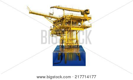 Offshore oil and gas wellhead remote platform produced raw gas condensate then sent to central facility to separate and treat gas cut away to show detail under water platform isolate on white.