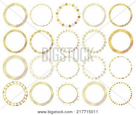 Hand-drawn ethnic brushes set in gold color. Artistic vector collection of design elements tribal geometric ornament. Pattern brushes with conors and tails are included in EPS file