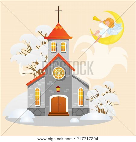 merry christmas and happy new year card, church under snow, christianity and Catholic winter cathedral vector illustration, religious holy background, angel plays furnace sitting on month in heaven.