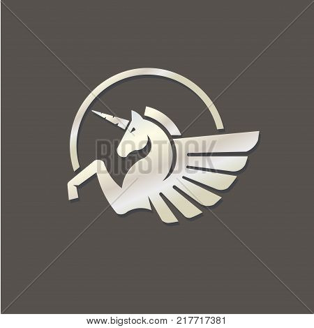 Winged unicorn silver color logo vector illustration. Stylized mythical creature silhouette, horse winged logo vector,