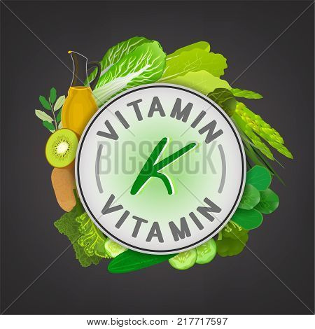 Vitamin K banner. Beautiful vector illustration with caption lettering and top foods highest in vitamin K isolated on a dark grey background. Useful for leaflet, brochure or poster design
