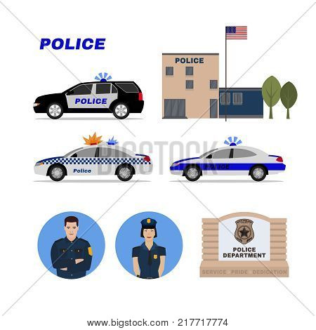 Police station, patrol cars, policeman and policewoman. Editable vector illustration. Justice, safety and protection concept. Detailed pictogtams collection.