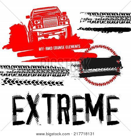 Different off-road elements useful for rally and race poster, placard, print or leaflet design. Editable vector illustration isolated on white background. Automobile collection in red and black color.
