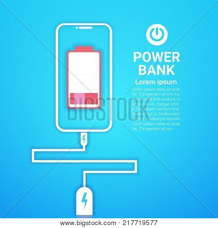 Portable Battery Power Bank Charging Modern Mobile Charger Device Concept Vector Illustration