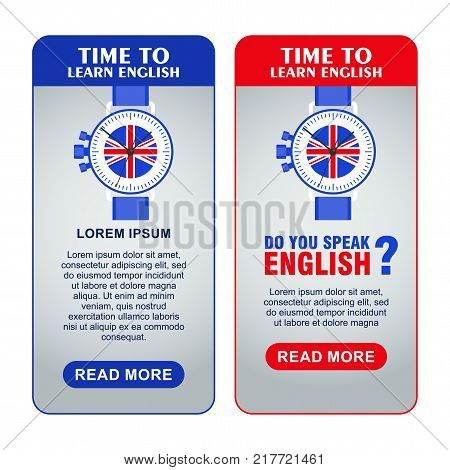 Bright flat vector banners with Wrist Watch for English language learning. Courses of foreign language, schools for studying British pronunciation. Information for site, social network, poster.