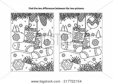 Winter, New Year or Christmas themed find the ten differences picture puzzle and coloring page with socks waiting for holiday gifts and presents