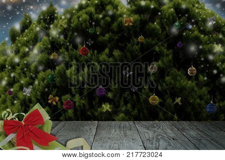 Christmas or New Year decoration backgroundcolorful glass balls on pine in front of christmas night