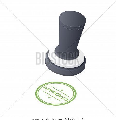 Approved Stamp 3D icon isolated on white background. Isometric Vector illustration.