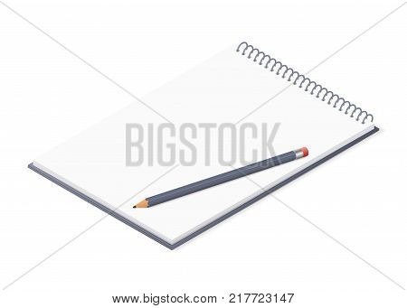 Opened notepad with pencil. Sketchbook or diary isolated on white background. Isometric vector illustration