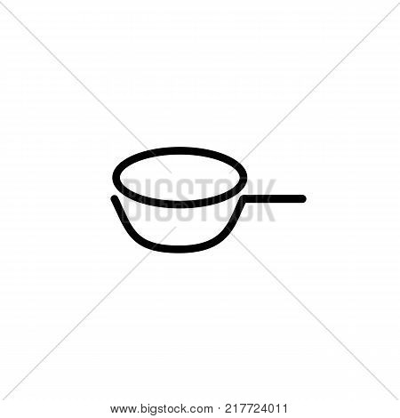 Line icon of saucepan with handle. Measuring scoop, cooking, utensil. Kitchenware concept. Can be used for topics like kitchen, food, housework