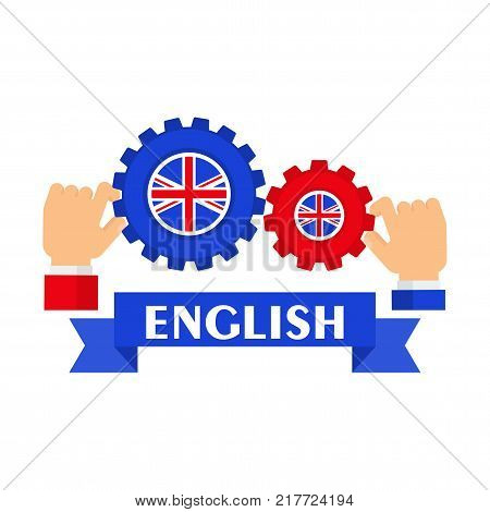 Bright flat vector banners with gear for English language learning. Courses of foreign language, schools for studying British pronunciation. Information for site, social network, poster and flyer.