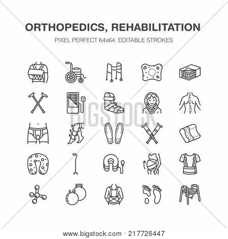 Orthopedics, trauma rehabilitation line icons. Crutches, mattress pillow, cervical collar, walkers, medical rehab goods. Health care thin linear signs for clinic and hospital. Pixel perfect 64x64.