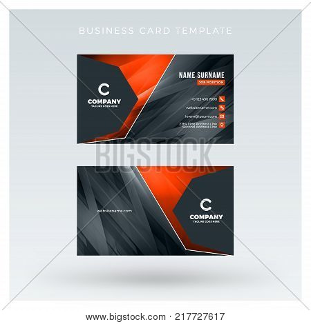 Creative And Clean Double-sided Business Card Vector Template With Abstract Background. Red And Blac