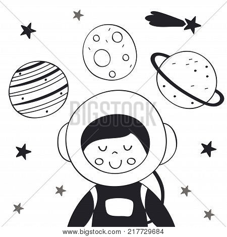 boy astronaut in space Scandinavian style. Poster,childish print, card - vector illustration, eps