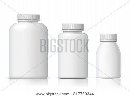 Cool Realistic White plastic bottle set. Product Packing medicine. Various fluids Vector Illustration