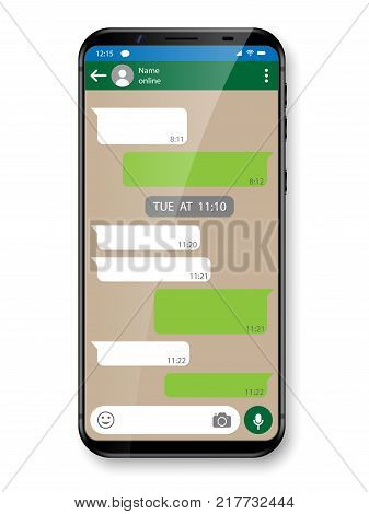 Black realistic Smartphone chatting or messaging app. Social network concept. Mobile phone with Messenger window. Vector illustration EPS 10
