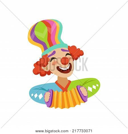 Funny circus clown playing harmonic, avatar of cartoon friendly clown in classic outfit vector Illustration on a white background