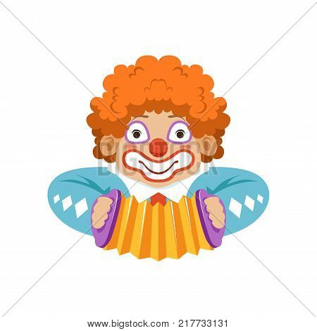Funny circus clown in traditional makeup with harmonic, cartoon friendly clown in classic outfit vector Illustration on a white background