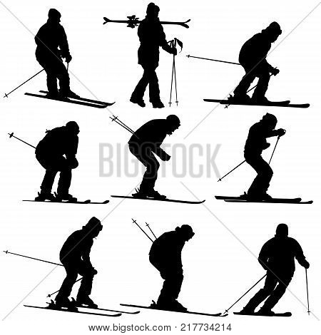 Set mountain skier speeding down slope. Vector sport silhouette.