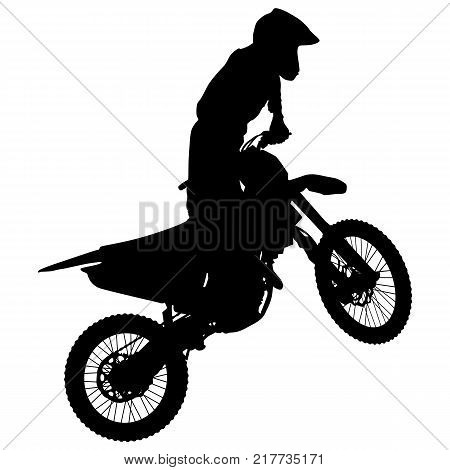 Silhouettes Rider participates motocross championship Vector illustration.