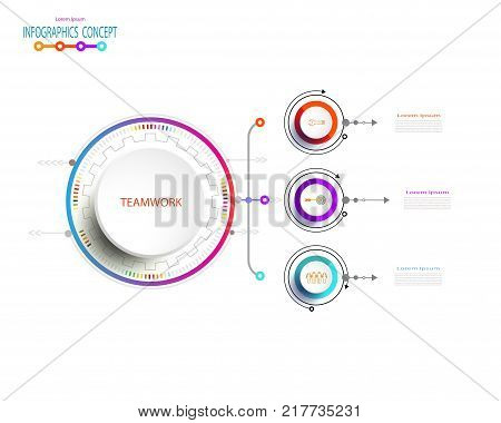Vector Infographic label design with icons and 3 options or stepsBusiness concept. Blank space for content business infographic diagram process diagram timeline digital network flowchart info