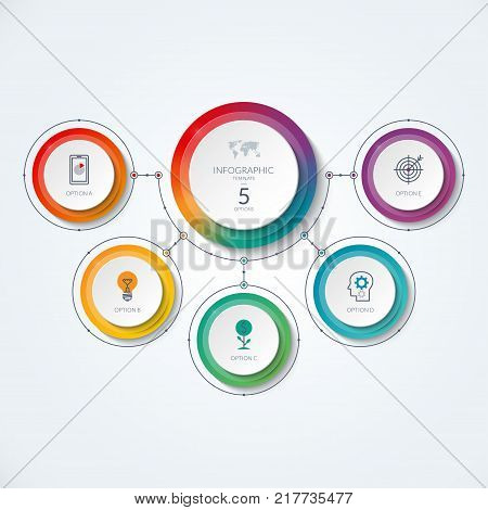 Infographic diagram in thin line style. Vector banner with 5 options, circles, parts. Can be used for workflow layout, circular diagram, web design, data visualization, process chart.