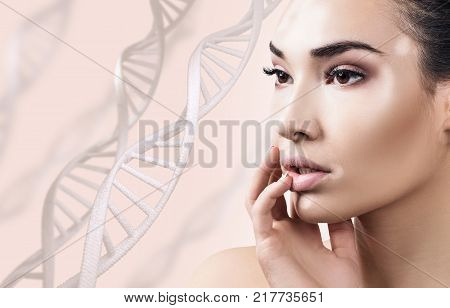Young sensual woman with vitiligo in DNA chains over white background. Biochemistry skin concept.