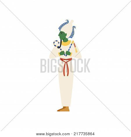 Osiris, the God of the underworld, Egyptian ancient culture vector Illustration on a white background