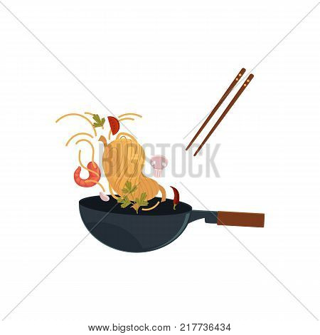 vector flat asian iron wok pan with flipping shrimp, chili pepper, mushrooms, parsley, tomato, udon noodles. Stir fry coocking process icon for menu design. Isolated illustration on white background