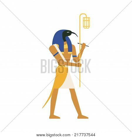 Thoth, God of Wisdom, Egyptian ancient culture vector Illustration on a white background