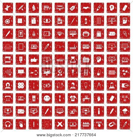 100 webdesign icons set in grunge style red color isolated on white background vector illustration