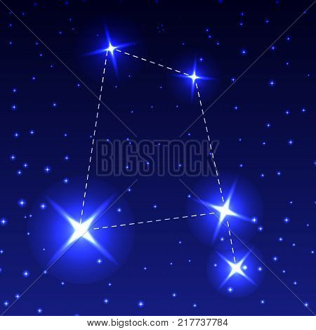 The Constellation Of The Raven in the night starry sky. Vector illustration of the concept of astronomy