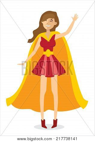 Vector illustration with female vector superhero. Super girl with super power