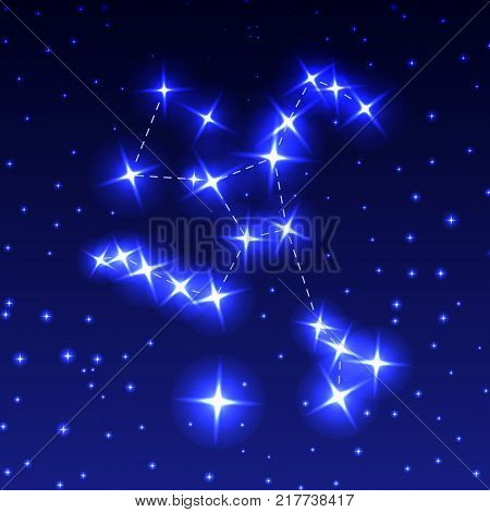 The Constellation Of Hercules in the night starry sky. Vector illustration of the concept of astronomy