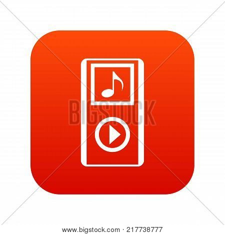 Mini MP3 portable player icon digital red for any design isolated on white vector illustration