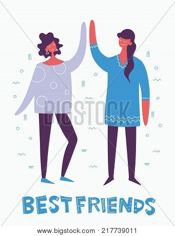 Card with vector illustration of Best Frends in flat cool style