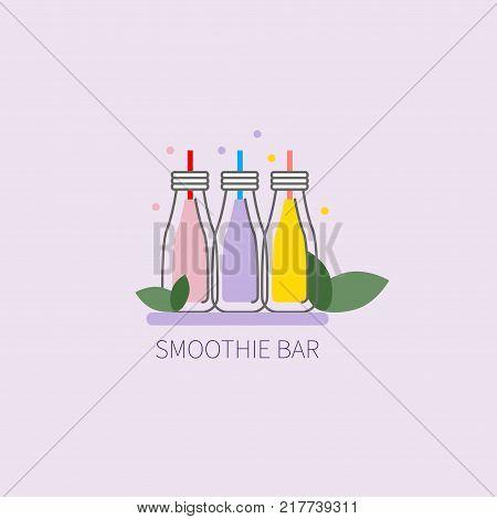 Smoothie bar. Icon vegan smoothie restaurant. Jars with straws. Vector illustration