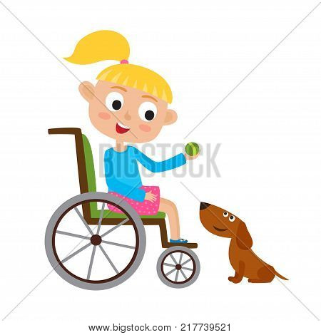 Vector illustration of smiling little blondy girl with ball on a wheelchair playing with dog isolated on white. Cartoon  happy disabled girl playing with an cute dog.