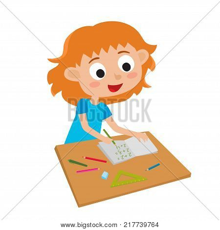 Little cute genius. Vector illustration of adorable happy little red-haired girl writing math with green pencil isolated on white. Illustration for children.