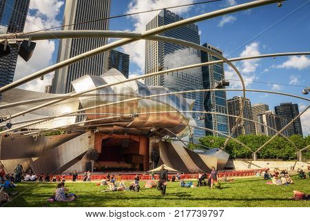 CHICAGO, ILLINOIS, USA - MAY 30, 2016 : Jay Pritzker Pavilion in Millennium Park in Chicago.  It is the home of the Grant Park Symphony Orchestra and Chorus, and the Grant Park Music Festival.